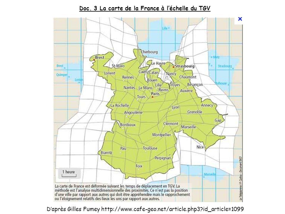 Doc. 3 La carte de la France à l'échelle du TGV