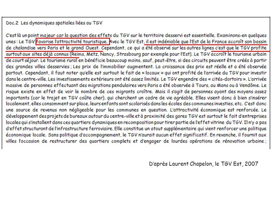 D'après Laurent Chapelon, le TGV Est, 2007