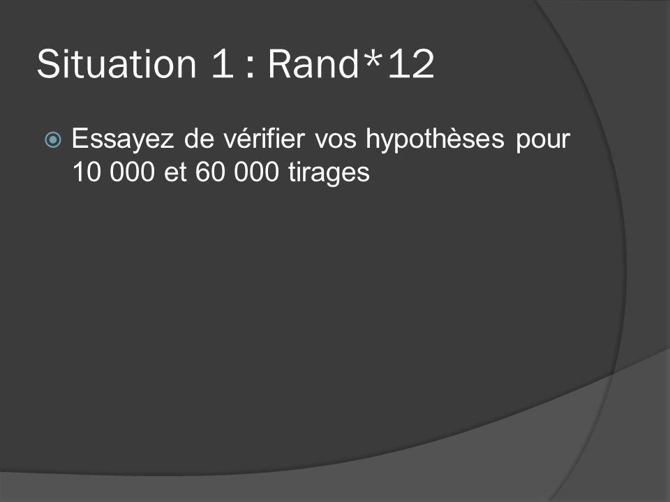 Situation 1 : Rand*12 Essayez de vérifier vos hypothèses pour 10 000 et 60 000 tirages