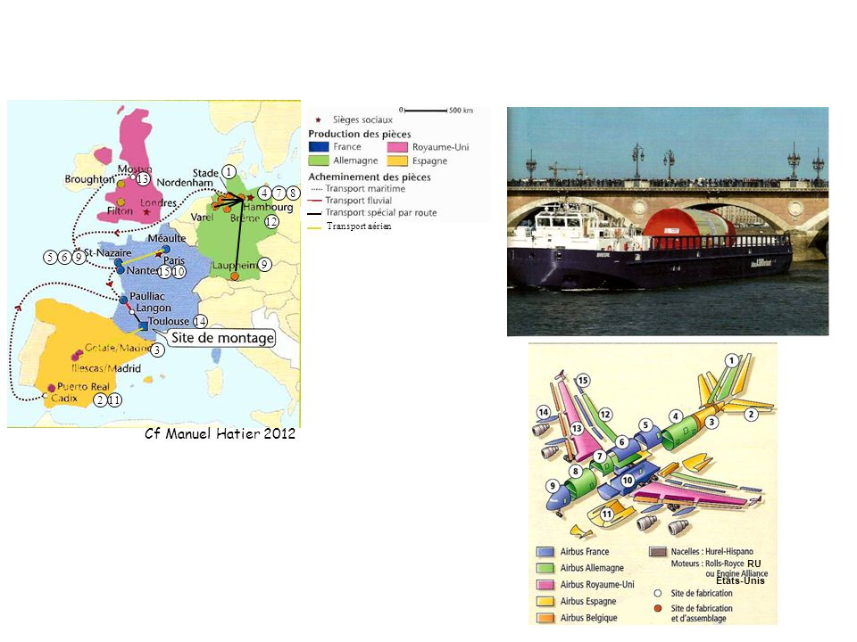 1 13 4 7 8 12 Transport aérien 5 6 9 9 15 10 14 3 2 11 Cf Manuel Hatier 2012 RU Etats-Unis 38