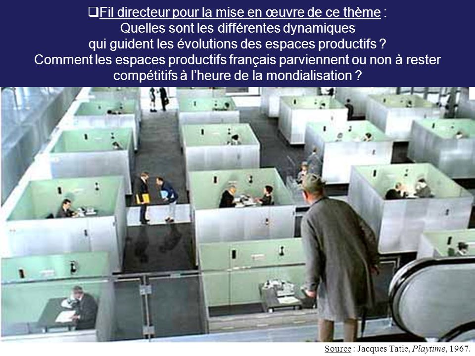 Fil directeur pour la mise en œuvre de ce thème : Quelles sont les différentes dynamiques qui guident les évolutions des espaces productifs Comment les espaces productifs français parviennent ou non à rester compétitifs à l'heure de la mondialisation