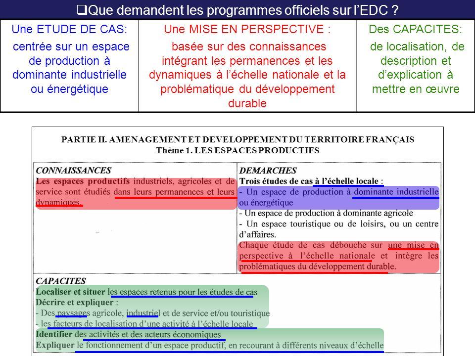 Que demandent les programmes officiels sur l'EDC