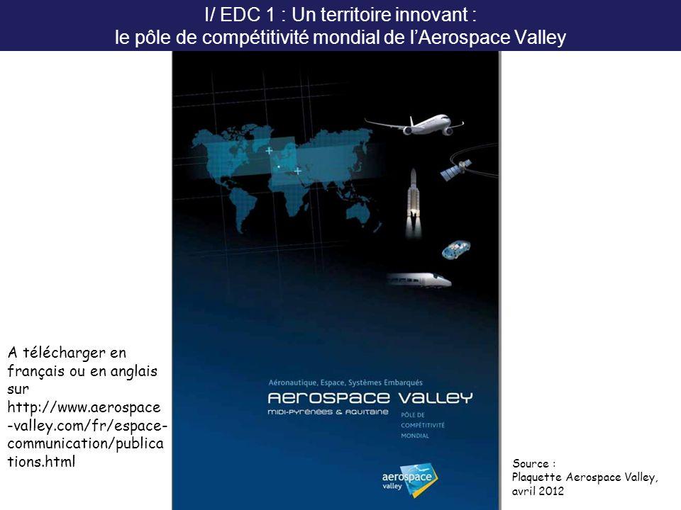 I/ EDC 1 : Un territoire innovant : le pôle de compétitivité mondial de l'Aerospace Valley