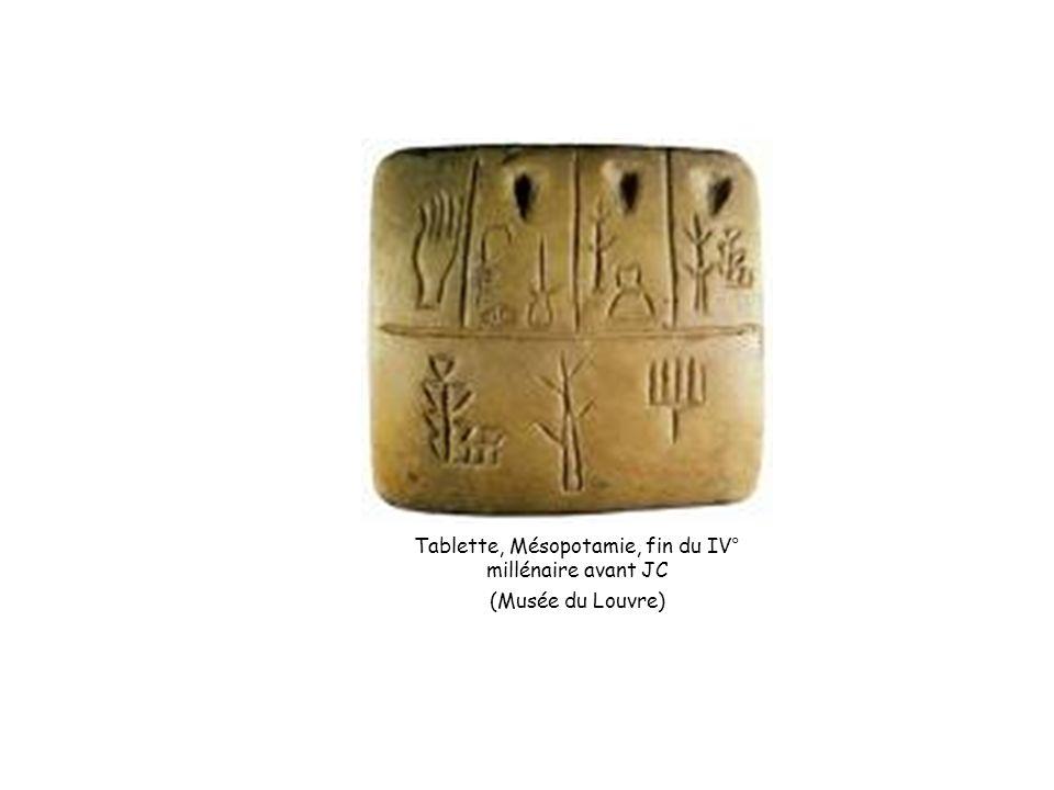 Tablette, Mésopotamie, fin du IV° millénaire avant JC