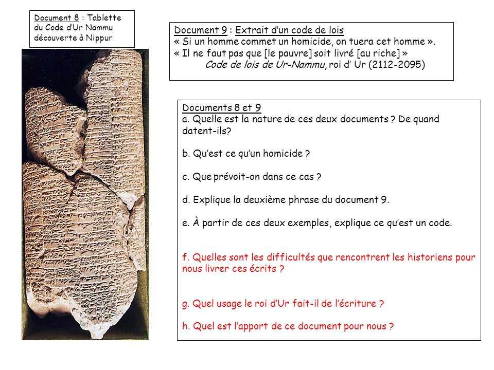 Document 9 : Extrait d'un code de lois