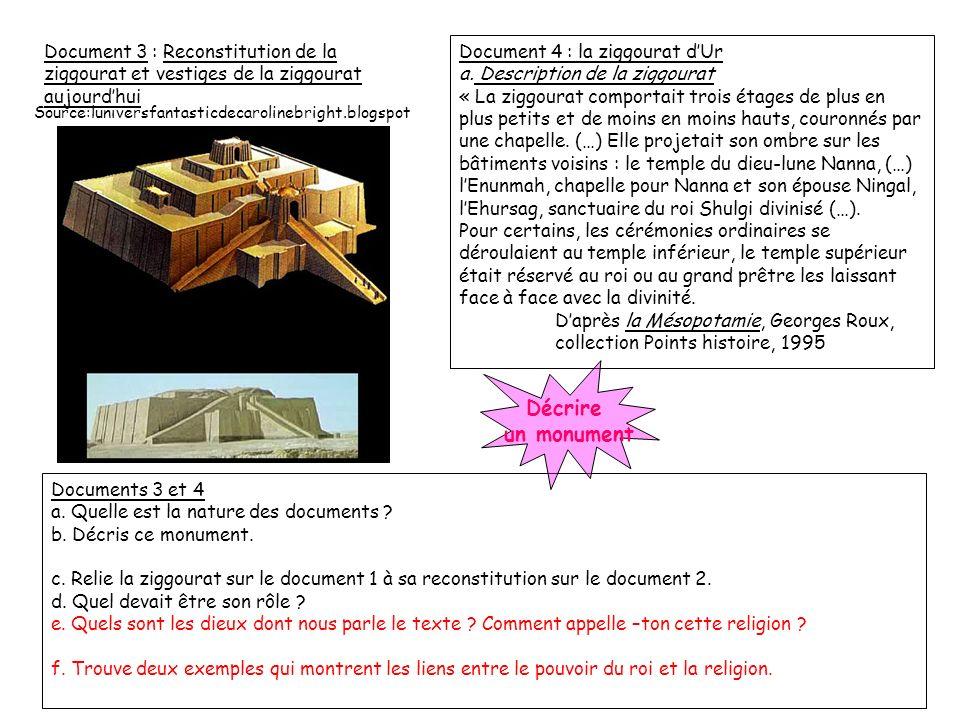 Document 3 : Reconstitution de la ziggourat et vestiges de la ziggourat aujourd'hui
