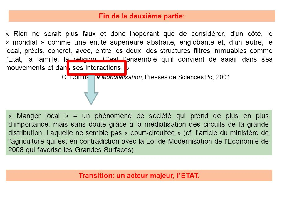 Fin de la deuxième partie: Transition: un acteur majeur, l'ETAT.
