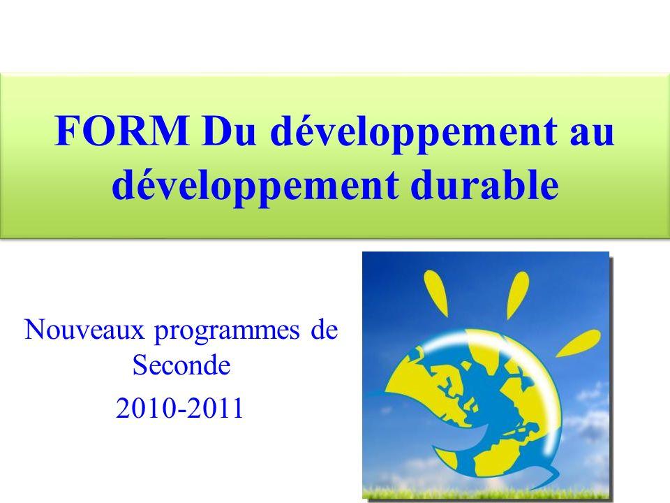 FORM Du développement au développement durable