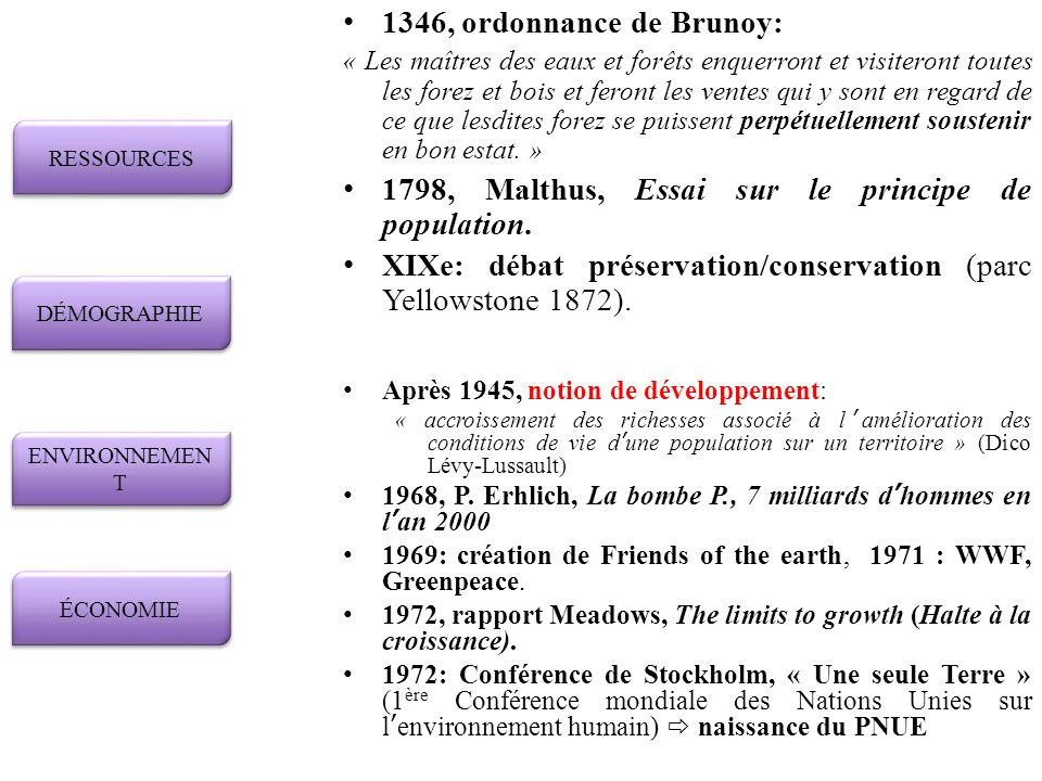 1798, Malthus, Essai sur le principe de population.