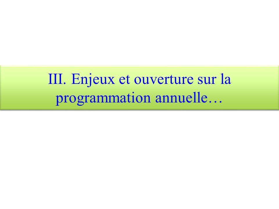III. Enjeux et ouverture sur la programmation annuelle…