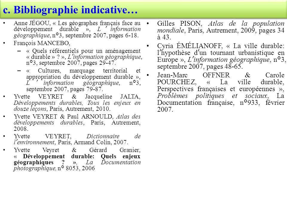 c. Bibliographie indicative…