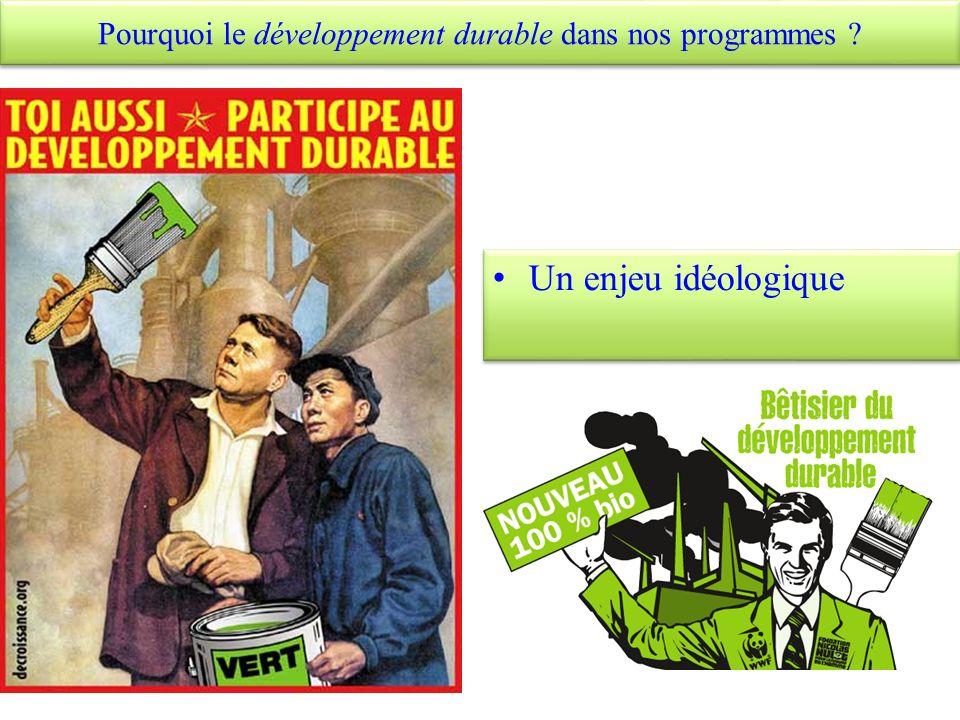 Pourquoi le développement durable dans nos programmes