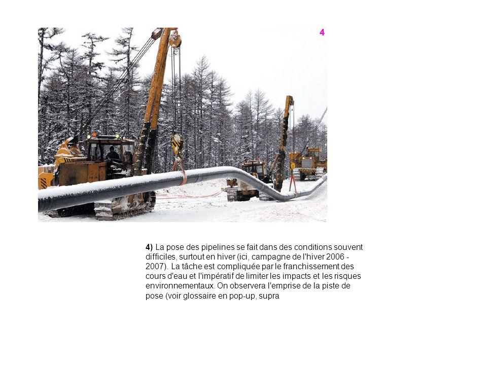 4) La pose des pipelines se fait dans des conditions souvent difficiles, surtout en hiver (ici, campagne de l hiver 2006 - 2007).