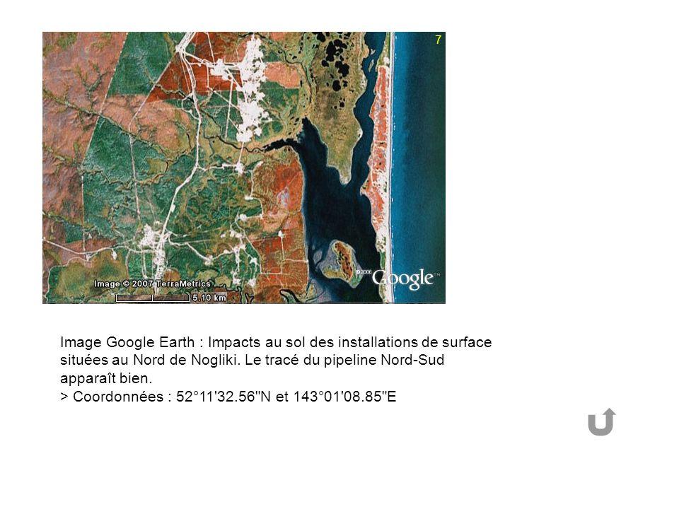 Image Google Earth : Impacts au sol des installations de surface situées au Nord de Nogliki.