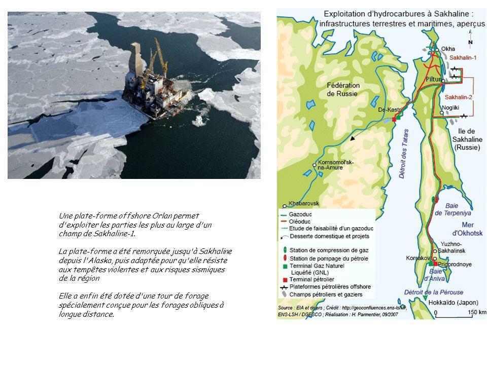 Une plate-forme offshore Orlan permet d exploiter les parties les plus au large d un champ de Sakhaline-1.