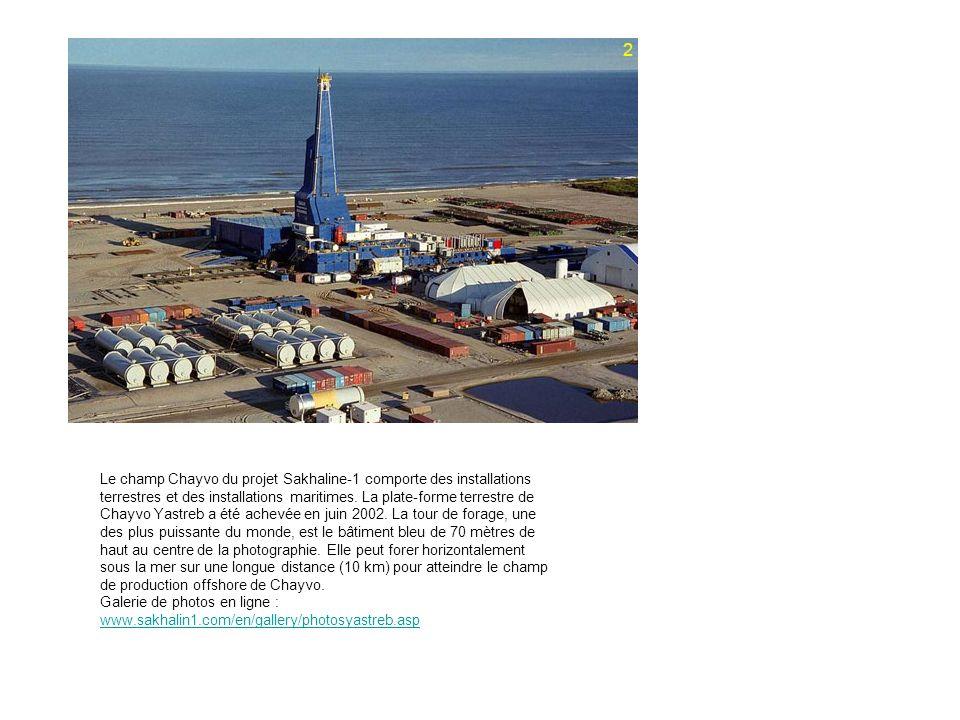 Le champ Chayvo du projet Sakhaline-1 comporte des installations terrestres et des installations maritimes.