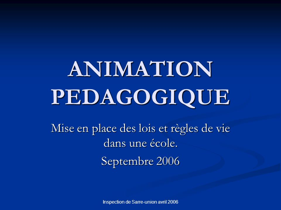 ANIMATION PEDAGOGIQUE
