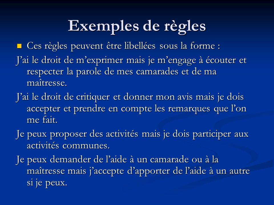 Exemples de règles Ces règles peuvent être libellées sous la forme :