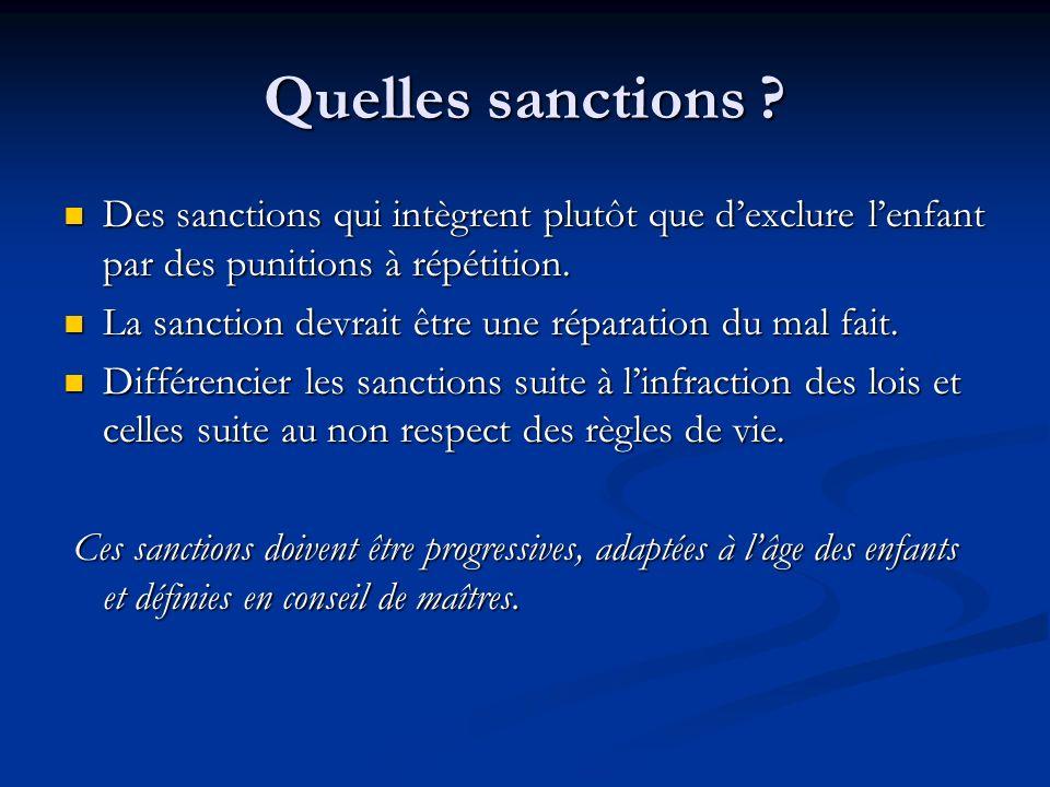 Quelles sanctions Des sanctions qui intègrent plutôt que d'exclure l'enfant par des punitions à répétition.