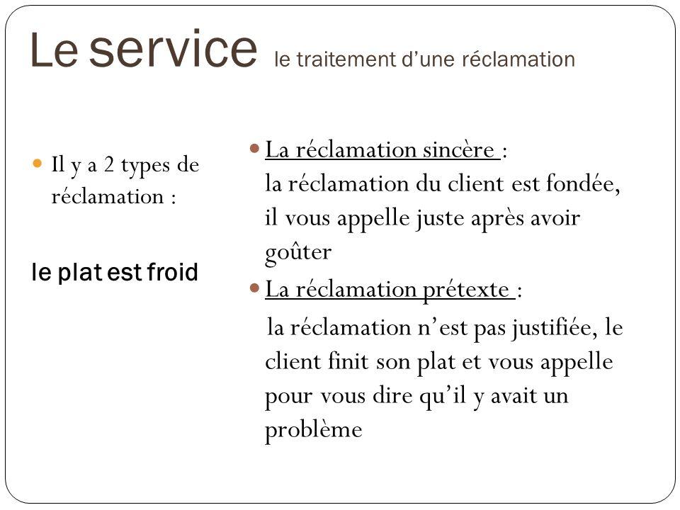 Le service le traitement d'une réclamation