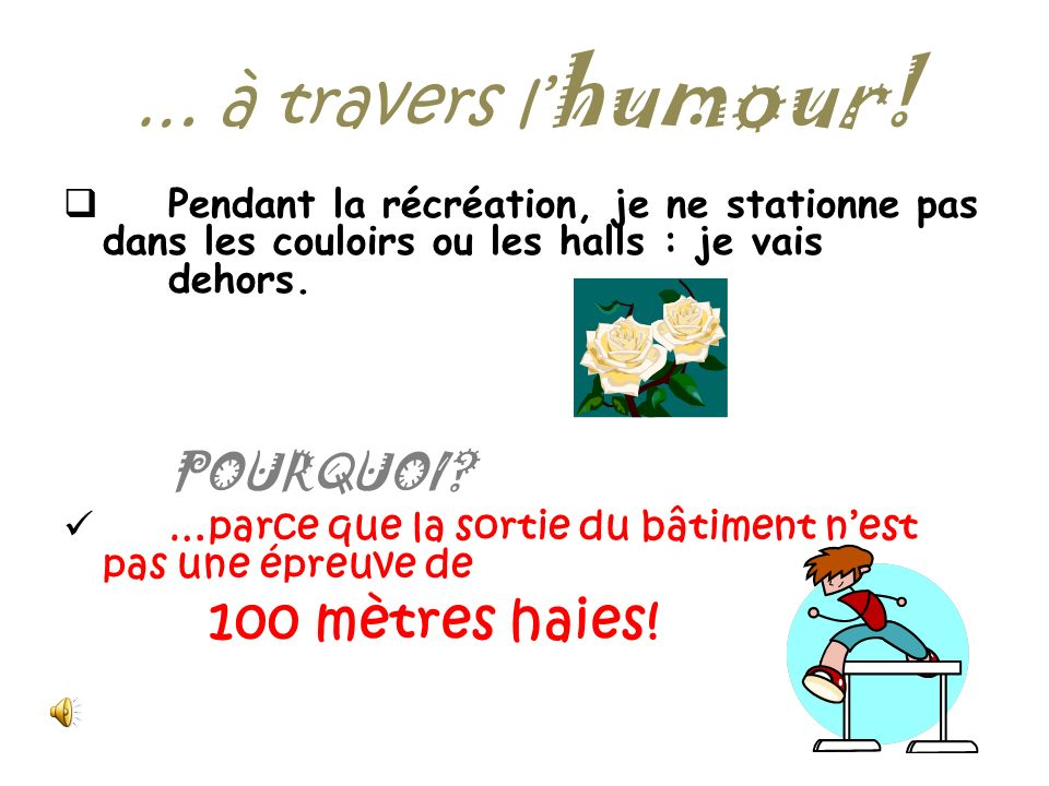 … à travers l'humour! 100 mètres haies!