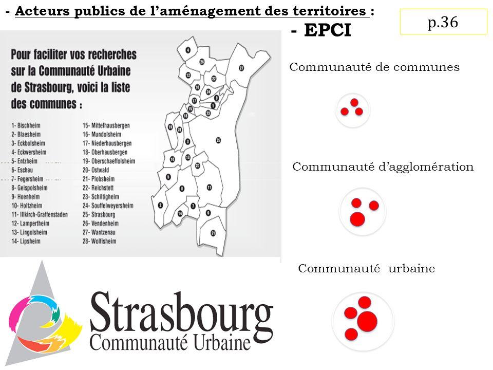 - EPCI p.36 - Acteurs publics de l'aménagement des territoires :