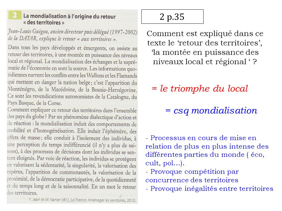 2 p.35 = le triomphe du local = csq mondialisation
