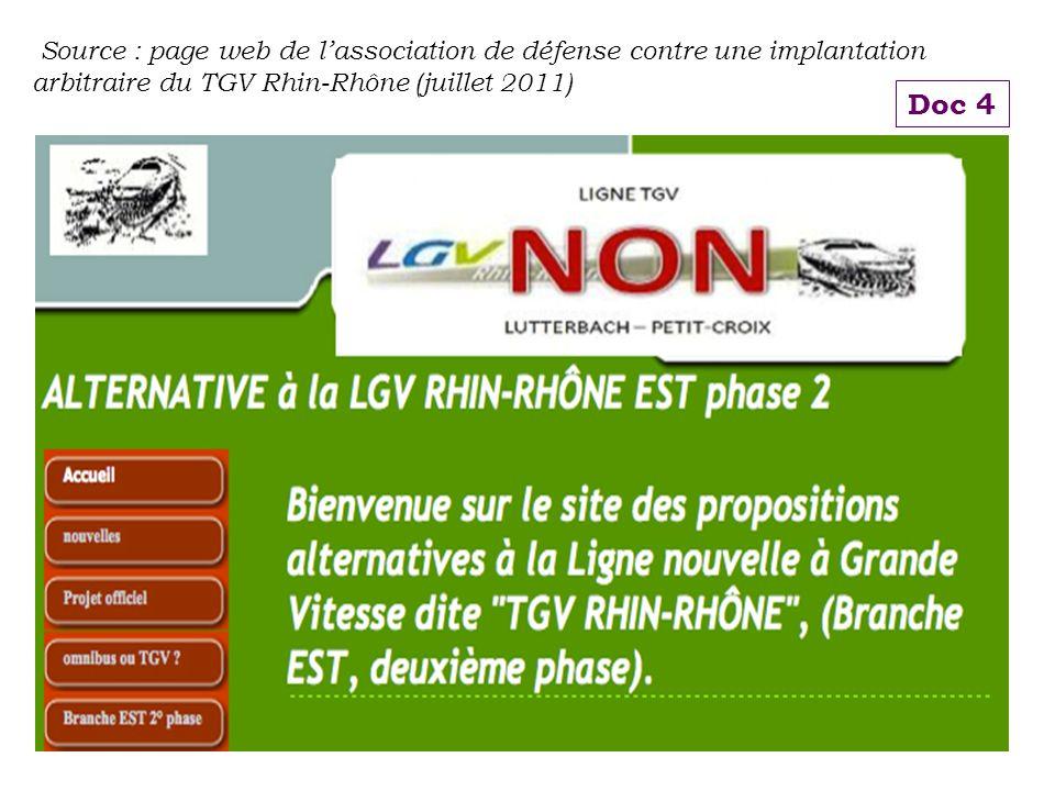Source : page web de l'association de défense contre une implantation arbitraire du TGV Rhin-Rhône (juillet 2011)