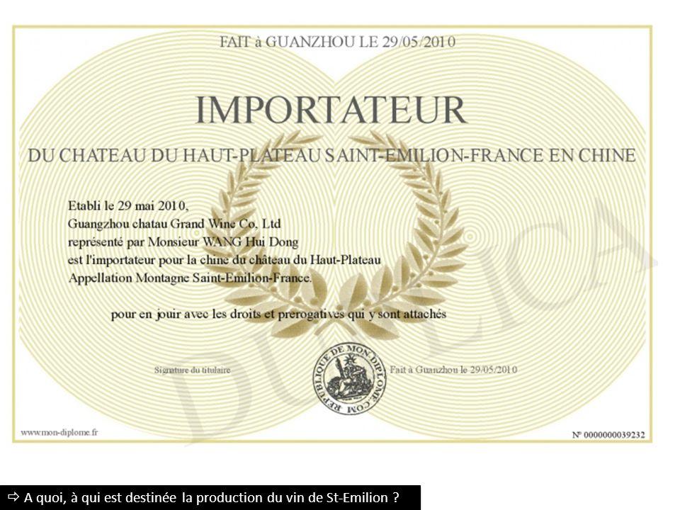  A quoi, à qui est destinée la production du vin de St-Emilion