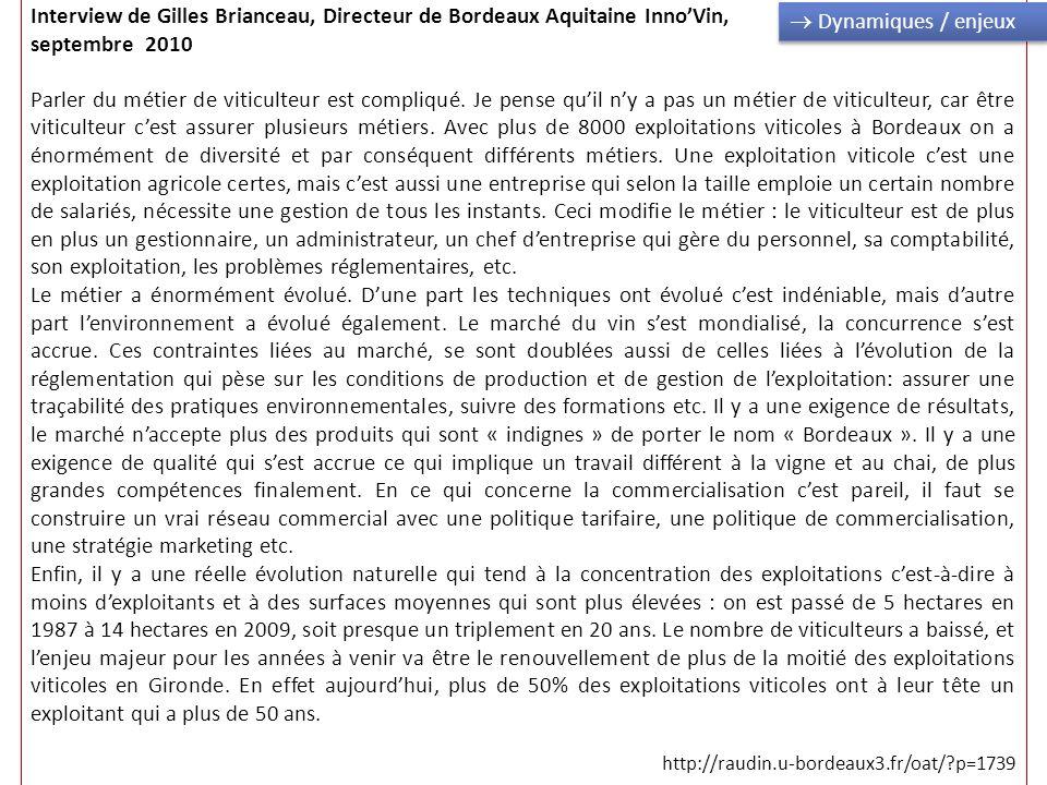 Interview de Gilles Brianceau, Directeur de Bordeaux Aquitaine Inno'Vin, septembre 2010