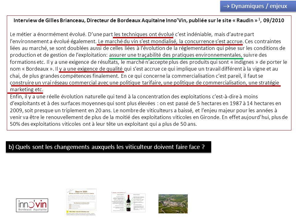  Dynamiques / enjeux Interview de Gilles Brianceau, Directeur de Bordeaux Aquitaine Inno'Vin, publiée sur le site « Raudin » 1, 09/2010.