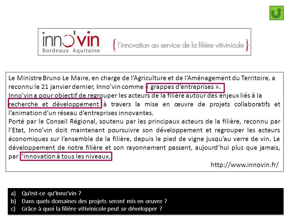 Le Ministre Bruno Le Maire, en charge de l'Agriculture et de l'Aménagement du Territoire, a