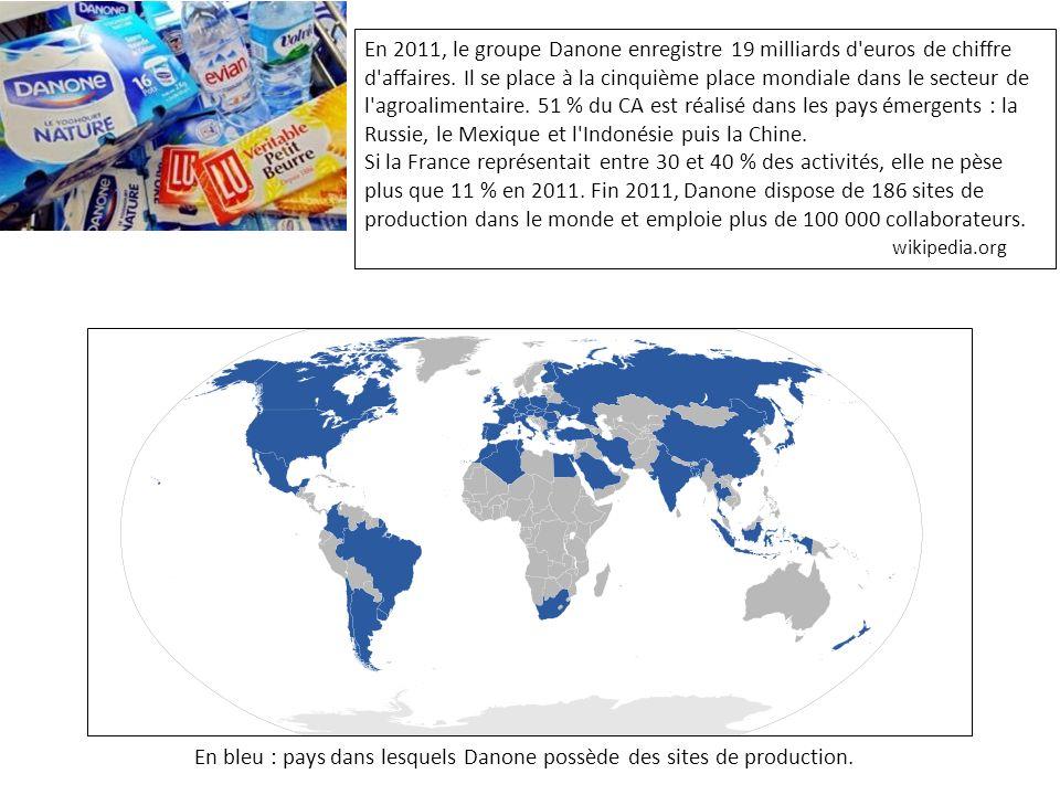 En 2011, le groupe Danone enregistre 19 milliards d euros de chiffre d affaires. Il se place à la cinquième place mondiale dans le secteur de l agroalimentaire. 51 % du CA est réalisé dans les pays émergents : la Russie, le Mexique et l Indonésie puis la Chine.