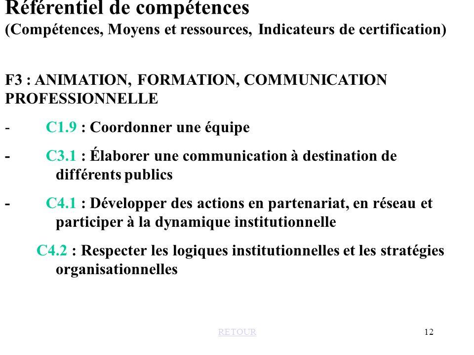 Référentiel de compétences (Compétences, Moyens et ressources, Indicateurs de certification)