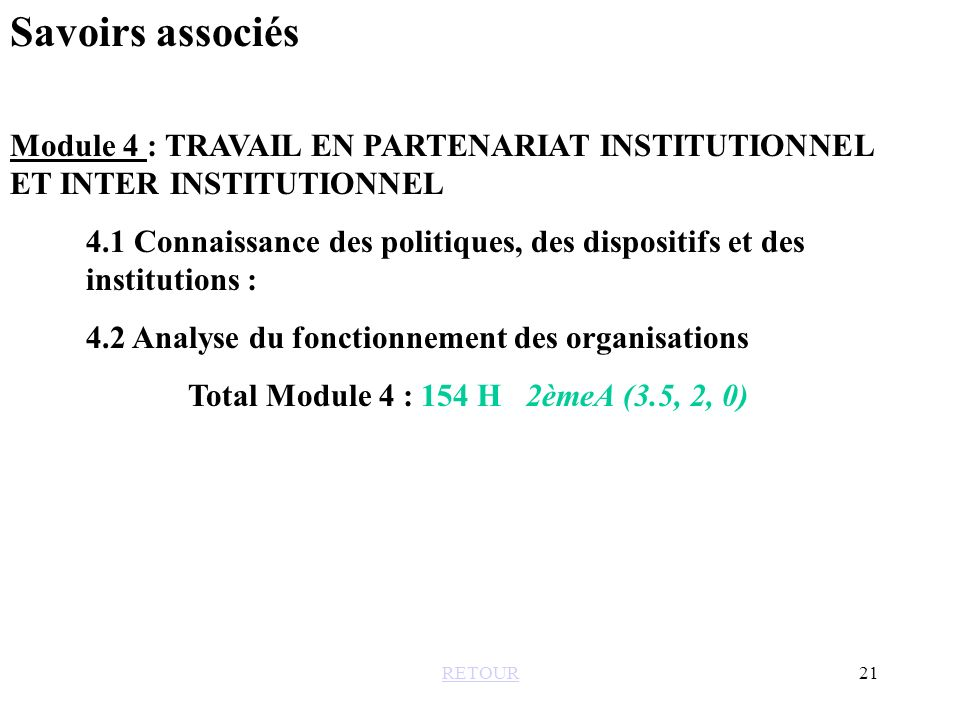 Savoirs associés Module 4 : TRAVAIL EN PARTENARIAT INSTITUTIONNEL ET INTER INSTITUTIONNEL.