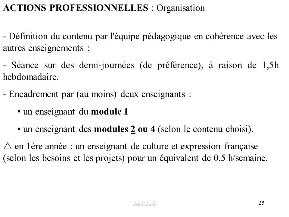 ACTIONS PROFESSIONNELLES : Organisation
