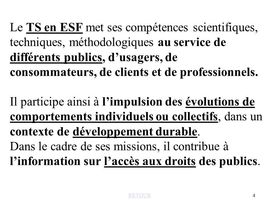 Le TS en ESF met ses compétences scientifiques, techniques, méthodologiques au service de différents publics, d'usagers, de consommateurs, de clients et de professionnels. Il participe ainsi à l'impulsion des évolutions de comportements individuels ou collectifs, dans un contexte de développement durable. Dans le cadre de ses missions, il contribue à l'information sur l'accès aux droits des publics.