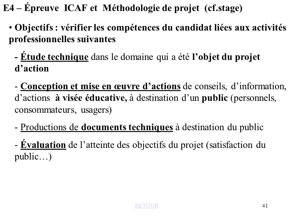 E4 – Épreuve ICAF et Méthodologie de projet (cf.stage)