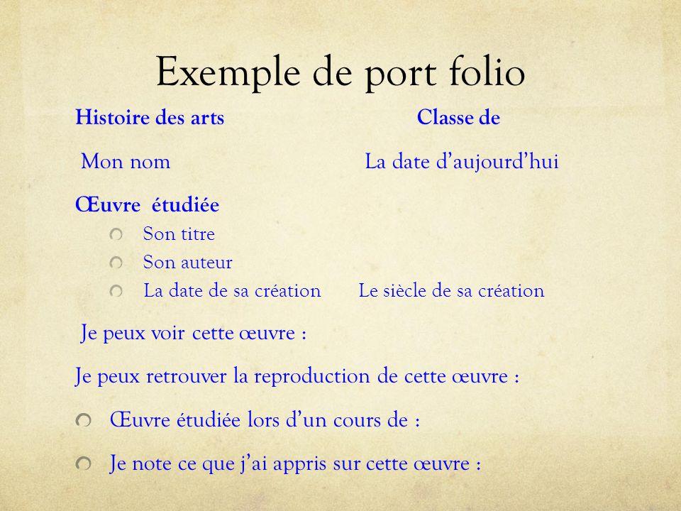 Exemple de port folio Histoire des arts Classe de