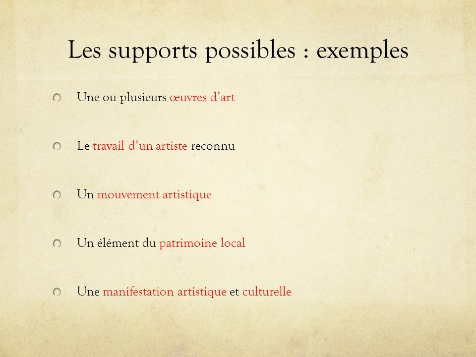 Les supports possibles : exemples