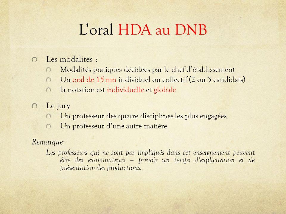 L'oral HDA au DNB Les modalités : Le jury Remarque: