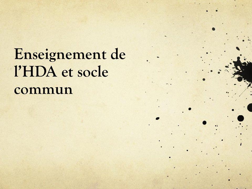 Enseignement de l'HDA et socle commun