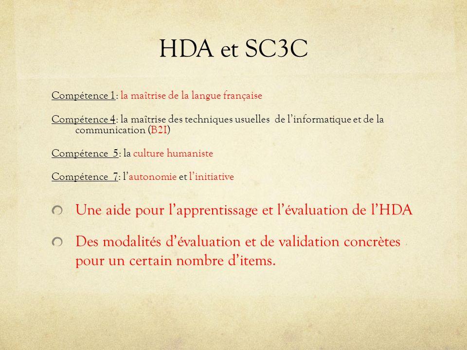 HDA et SC3C Une aide pour l'apprentissage et l'évaluation de l'HDA