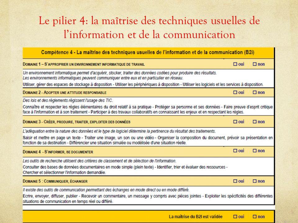 Le pilier 4: la maîtrise des techniques usuelles de l'information et de la communication