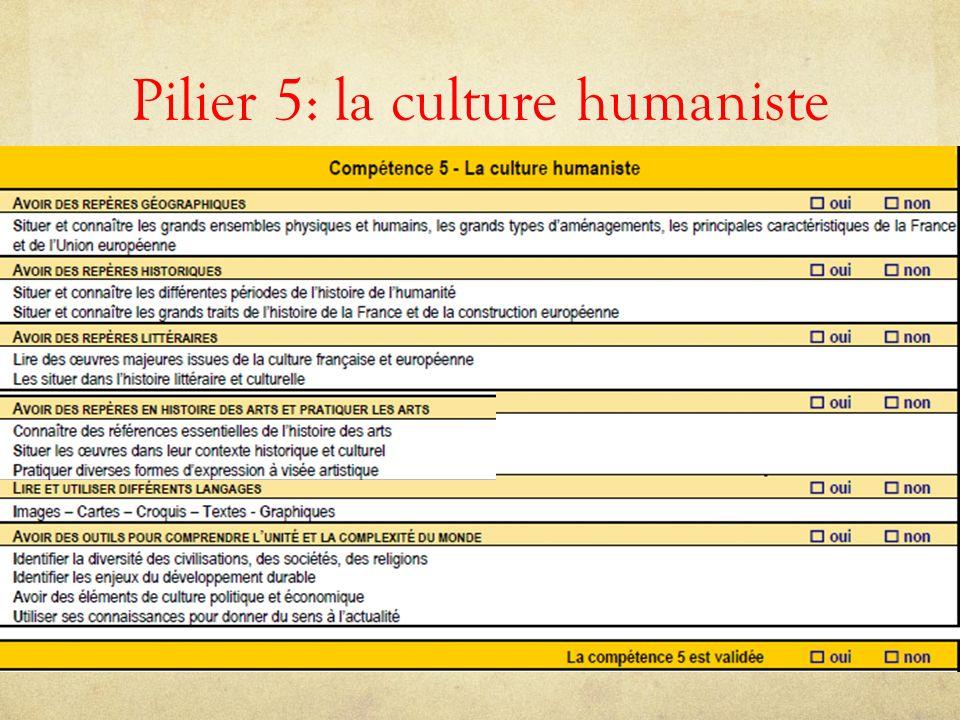 Pilier 5: la culture humaniste