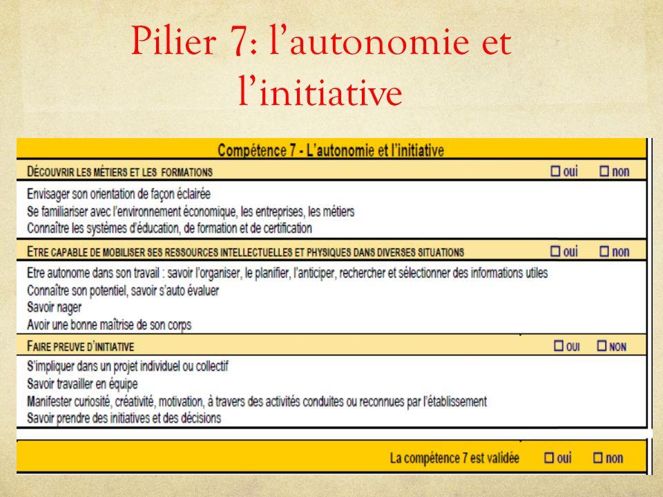 Pilier 7: l'autonomie et l'initiative