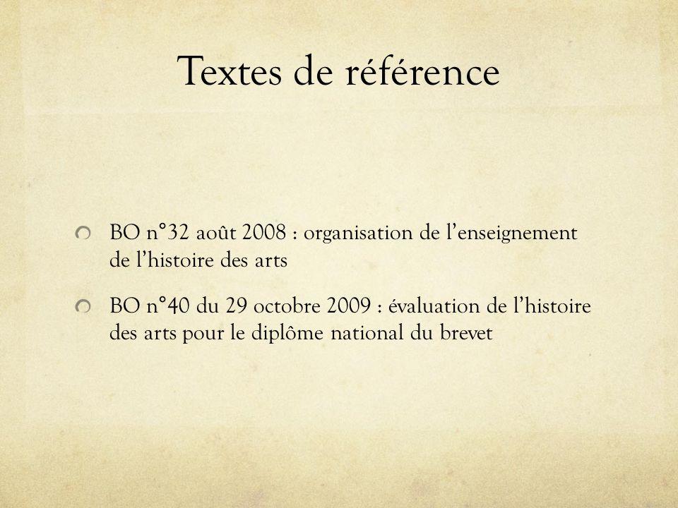 Textes de référence BO n°32 août 2008 : organisation de l'enseignement de l'histoire des arts.