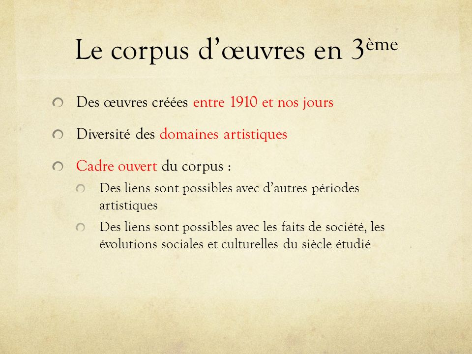 Le corpus d'œuvres en 3ème