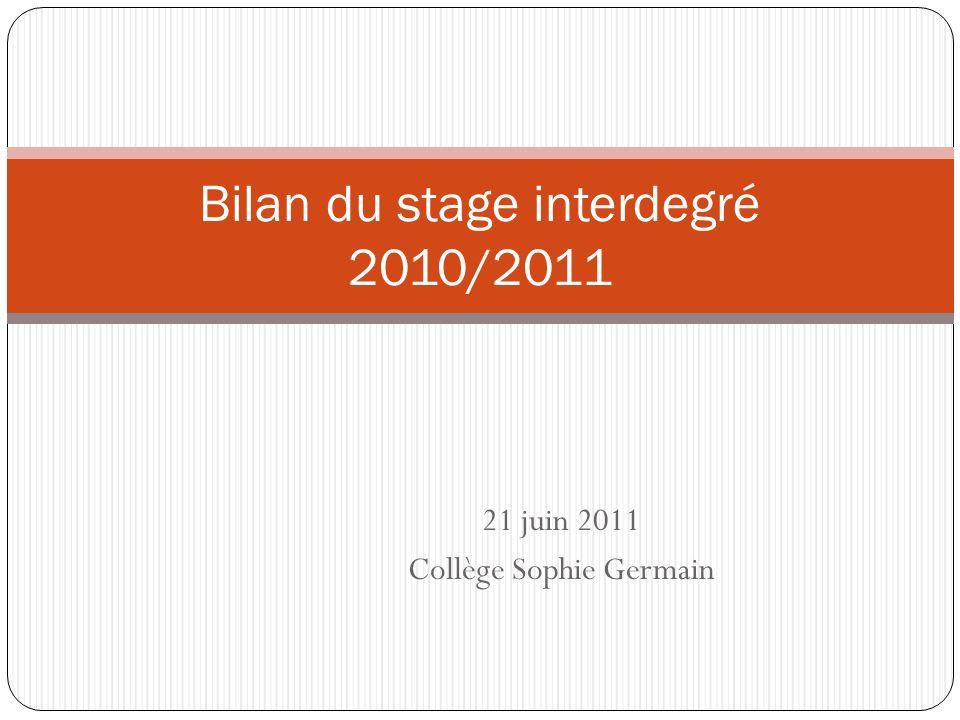 Bilan du stage interdegré 2010/2011