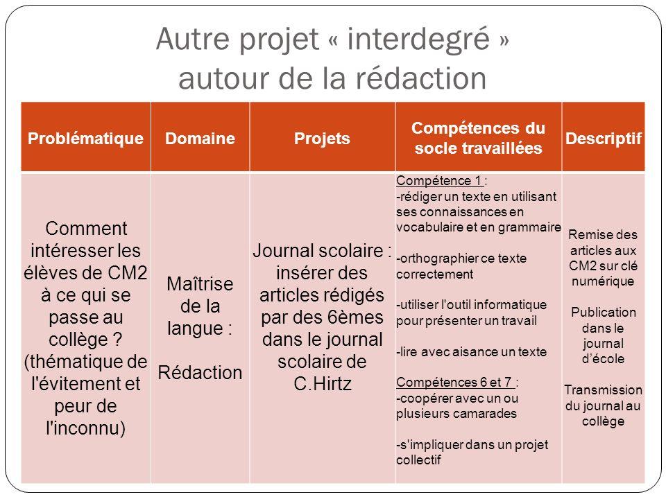 Autre projet « interdegré » autour de la rédaction